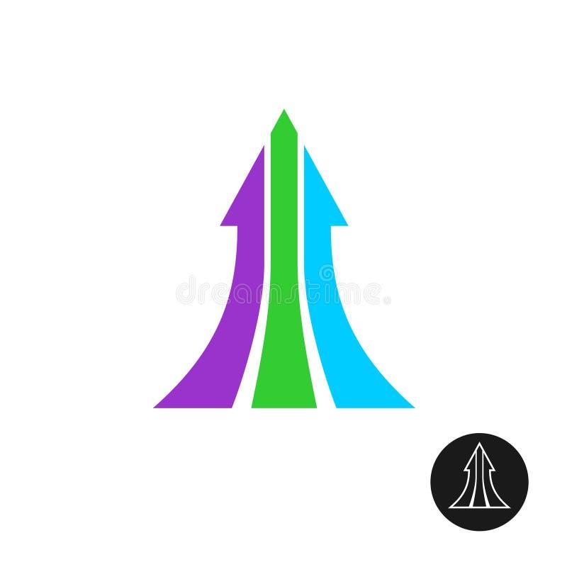 Стрелка 3 путей вверх по шаблону логотипа бесплатная иллюстрация