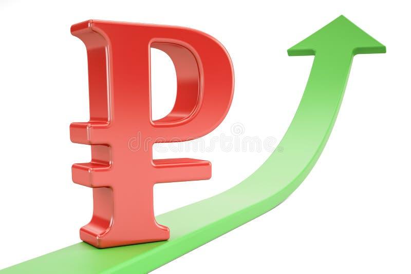 Стрелка роста зеленая с символом рубля, перевода 3D иллюстрация вектора