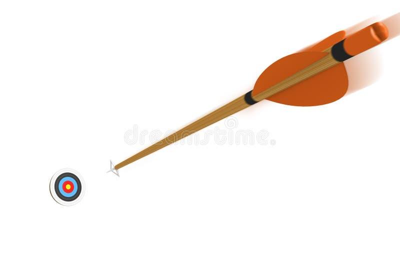 Стрелка с летанием нерезкости движения к цели archery на высокой скорости, перевод 3D иллюстрация вектора
