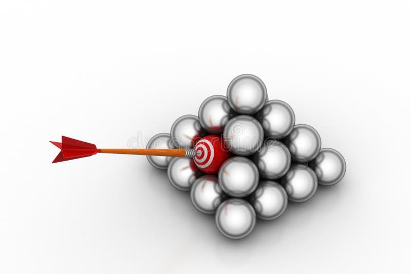Стрелка ударяя стрелку цели иллюстрация вектора