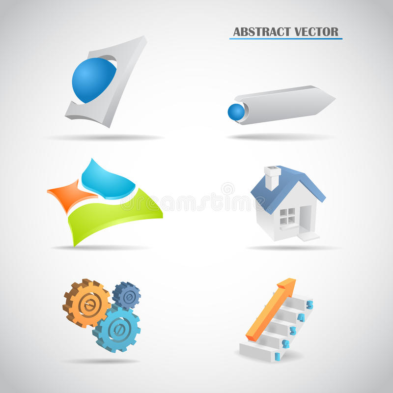 Стрелки абстрактного логотипа 3d установленные расквартировывают лестницу шестерней иллюстрация штока