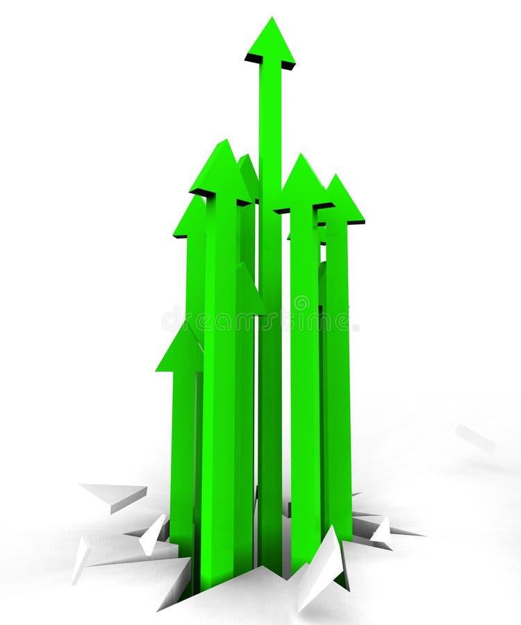 Стрелки вверх представляют выдвижение и указывать улучшения иллюстрация вектора