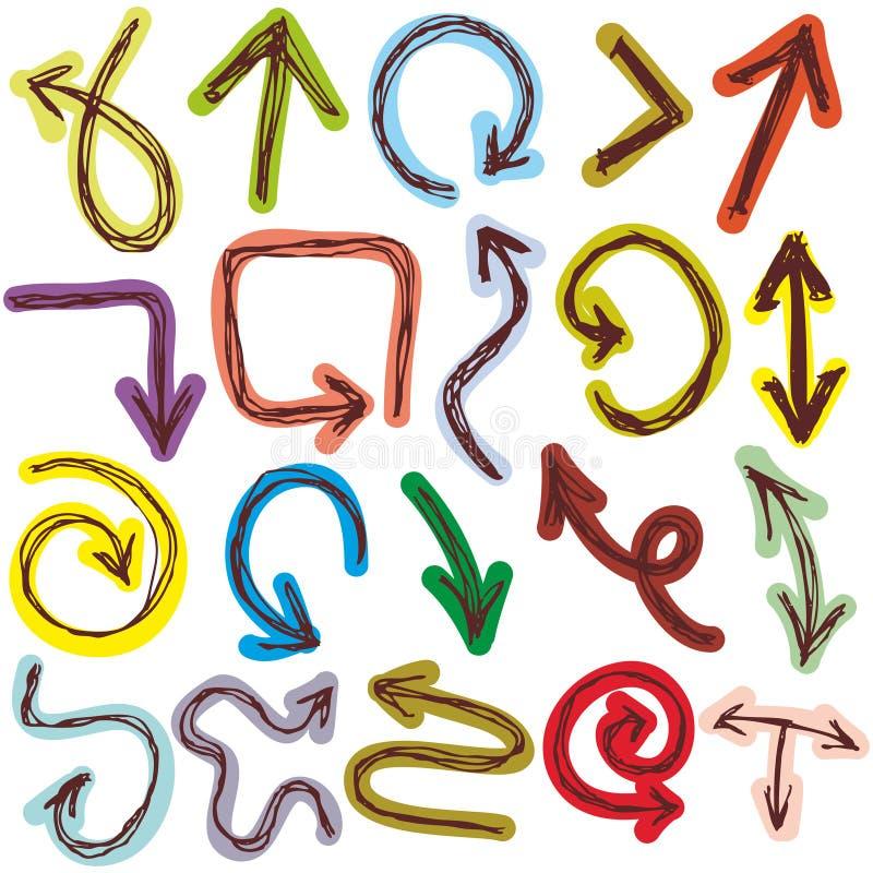 Стрелки декоративного Doodle эскиза dravn руки красочные на белой предпосылке иллюстрация вектора