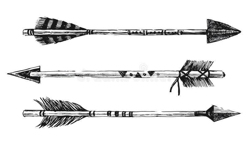Стрелки нарисованные рукой в племенном стиле иллюстрация вектора