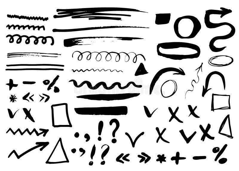 Стрелки, рассекатели и границы, иллюстрация вектора элементов нарисованная рукой установленная иллюстрация вектора