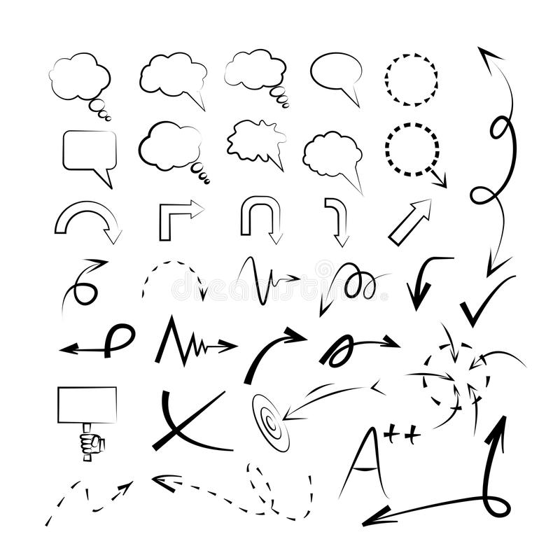 Стрелки эскиза, пузыри эскиза иллюстрация вектора