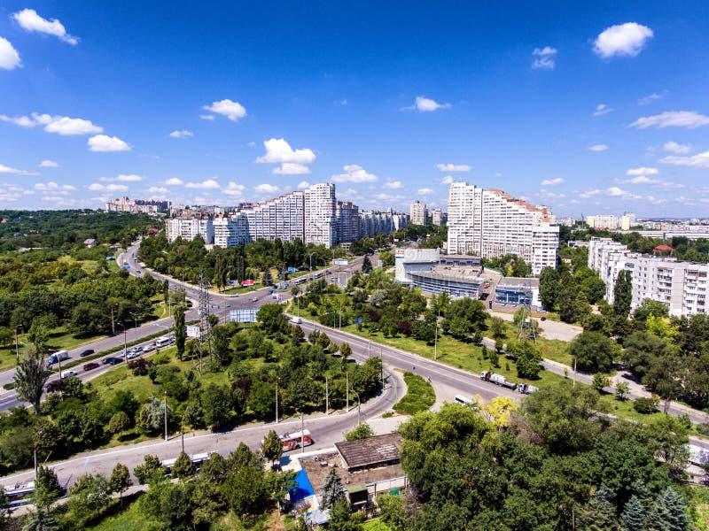 Стробы города Chisinau, республики Молдавии, вида с воздуха стоковая фотография rf