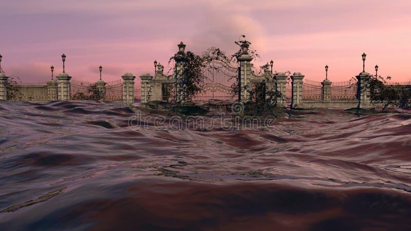 Стробы к раю - небо захода солнца океана иллюстрация вектора
