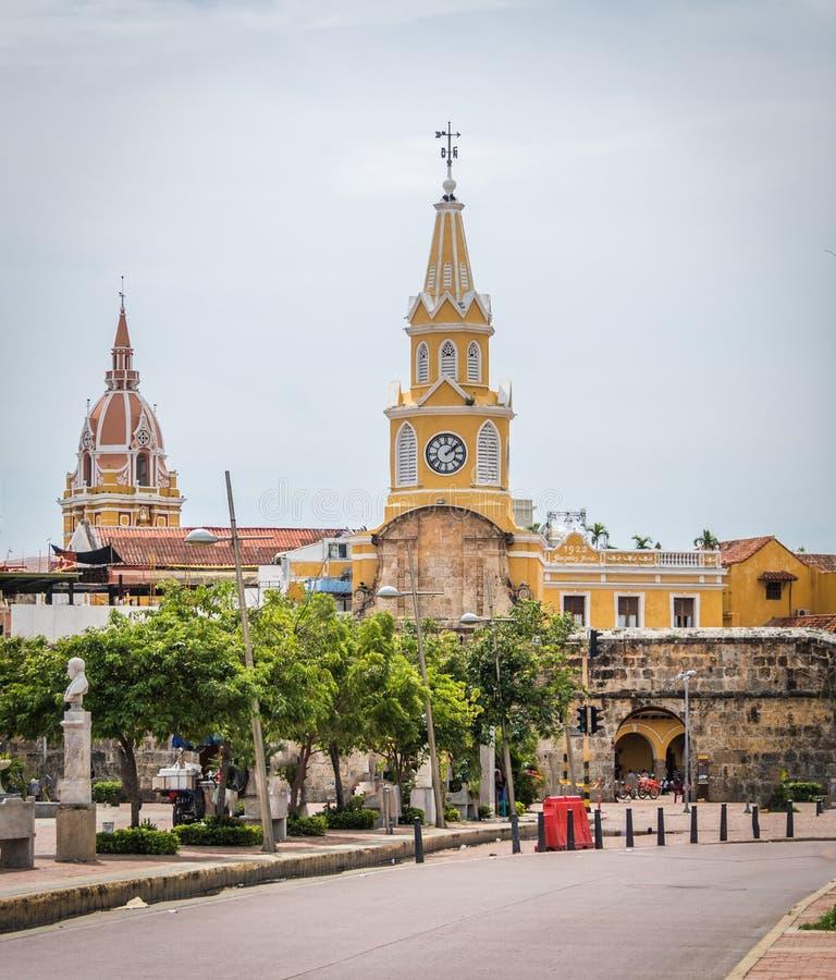 Строб башни с часами - Cartagena de Indias, Колумбия стоковые изображения