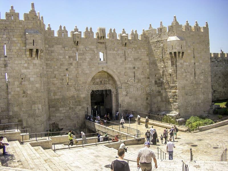 Строб Дамаска в Иерусалиме, Израиле стоковые изображения