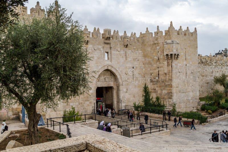 Строб Дамаска, строб Shechem в Иерусалиме стоковые фото