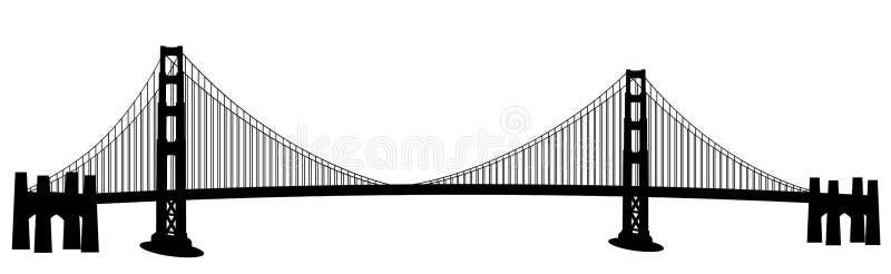 строб золотистый san francisco зажима моста искусства иллюстрация вектора