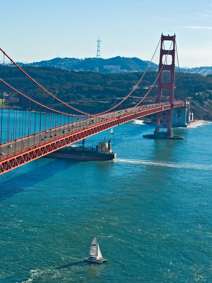 строб золотистый san francisco моста стоковая фотография