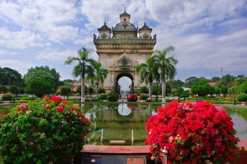 Строб Patuxai победы, Вьентьян, Лаос стоковое изображение