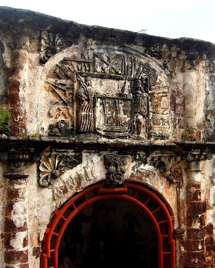 Строб, Porta de Сантьяго, форт Famosa, Малакка, Малайзия стоковые фотографии rf