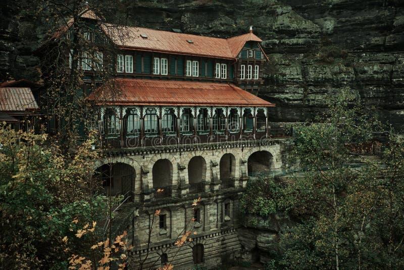 Строб Pravcicka самый большой естественный свод в Европе, Чехословакск-Saxon Швейцарии, чехии стоковое фото