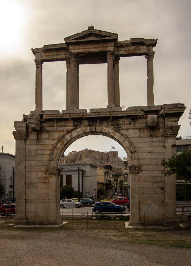 Строб ` s Hadrian, Афины, Греция стоковое изображение