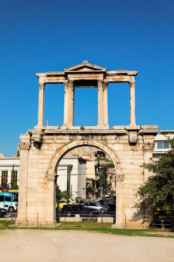 Строб ` s Hadrian, центр Афин исторический, Греция стоковое фото