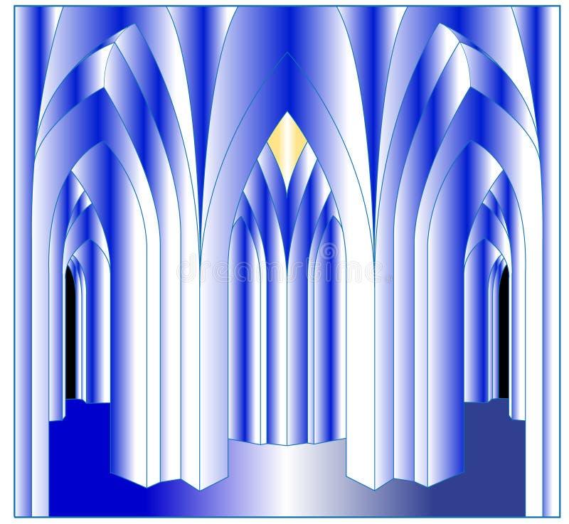 Строгое фойе готического стиля иллюстрация вектора