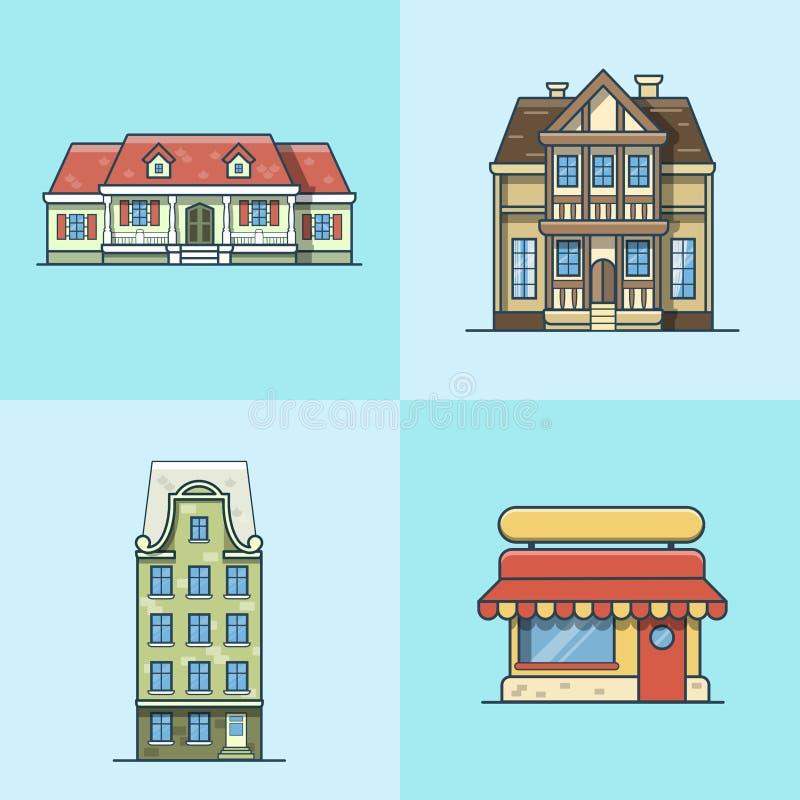 Строение архитектуры ресторана кафа таунхауса города иллюстрация вектора