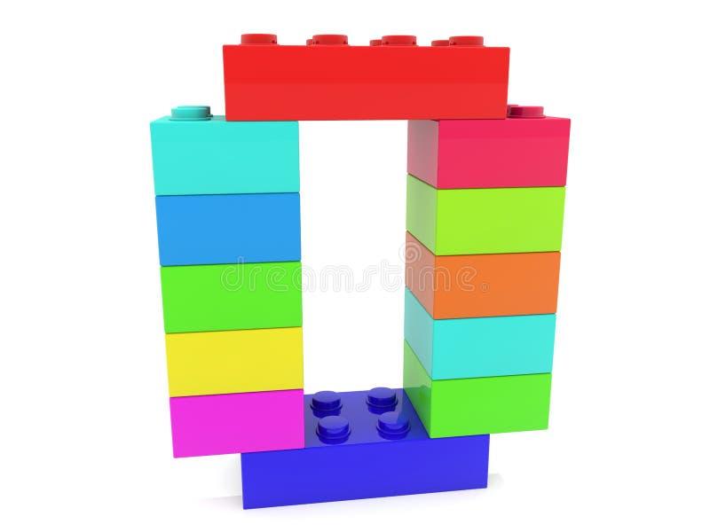Строение концепции нул от красочных кирпичей игрушки иллюстрация вектора