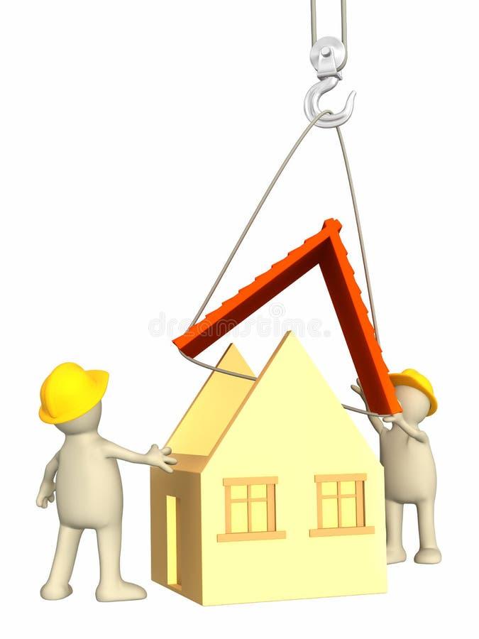строители 3d закрепляют понижать крышу иллюстрация штока