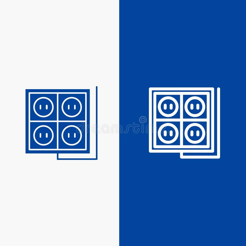 Строительство, конструкция, Plug, Socket, Tool Line и Glyph Solid icon Синяя баннерная линия и Глиф Твердый значок Синий баннер бесплатная иллюстрация