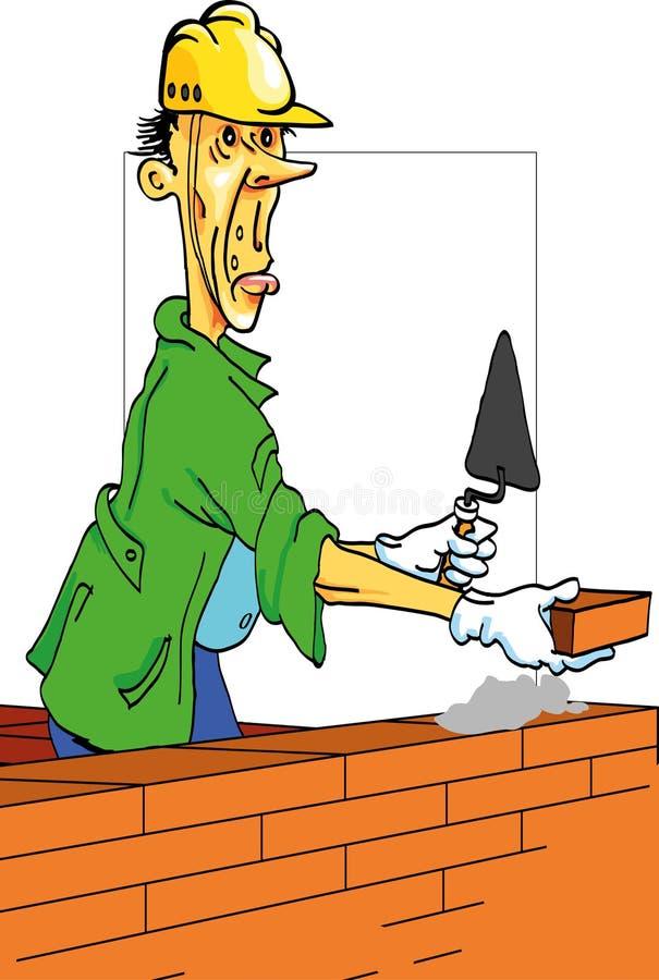 строитель жизнерадостный иллюстрация вектора