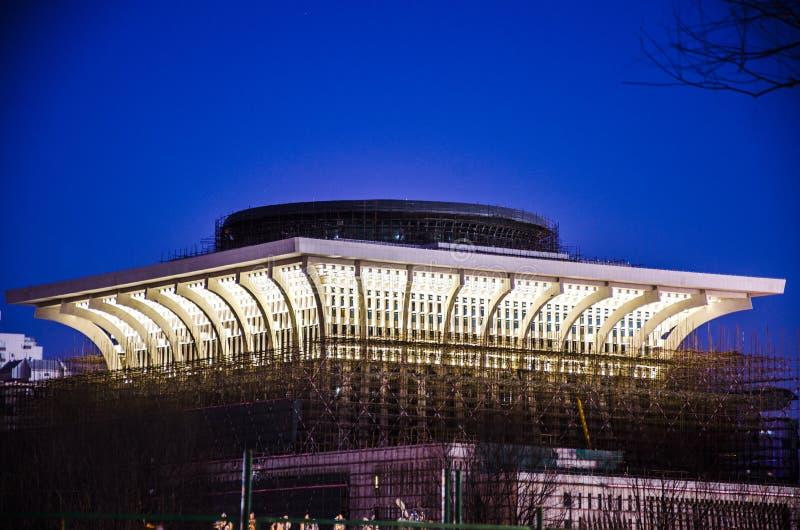 Строительная площадка на ноче, Пекине стоковая фотография rf