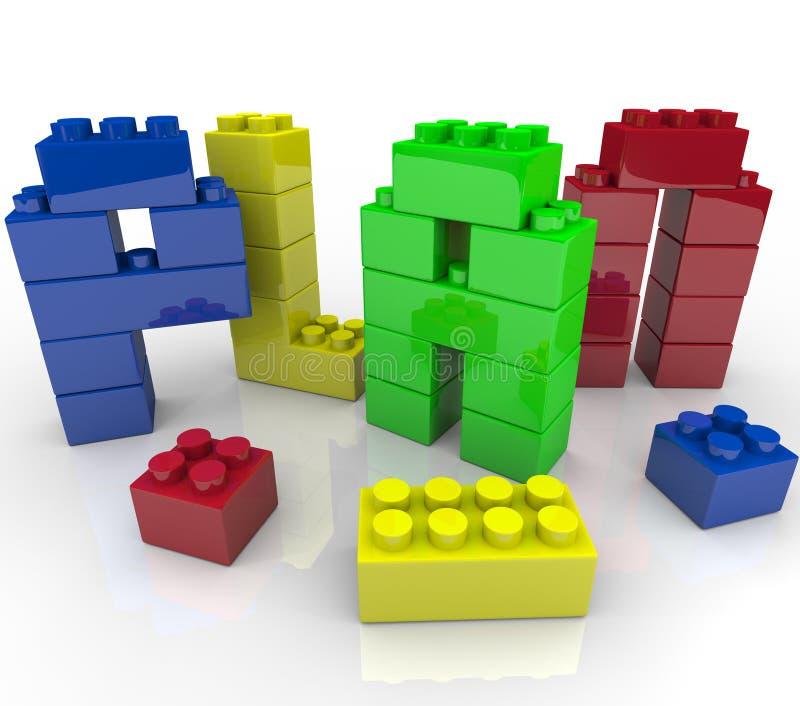 Строительные блоки игрушки слова плана строя стратегию иллюстрация штока