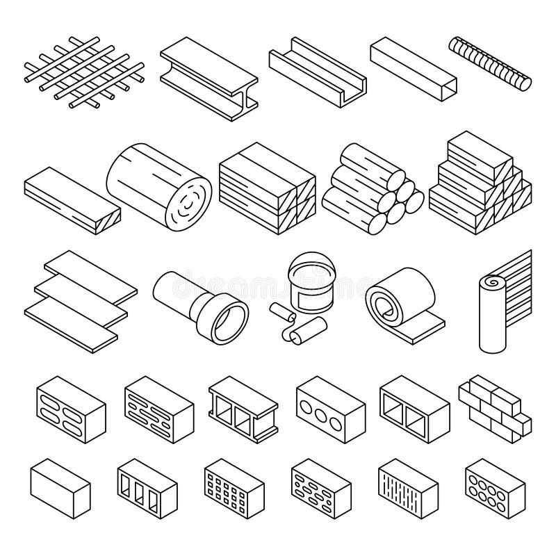 Строительные материалы строительной конструкции для значков вектора ремонта равновеликих иллюстрация штока