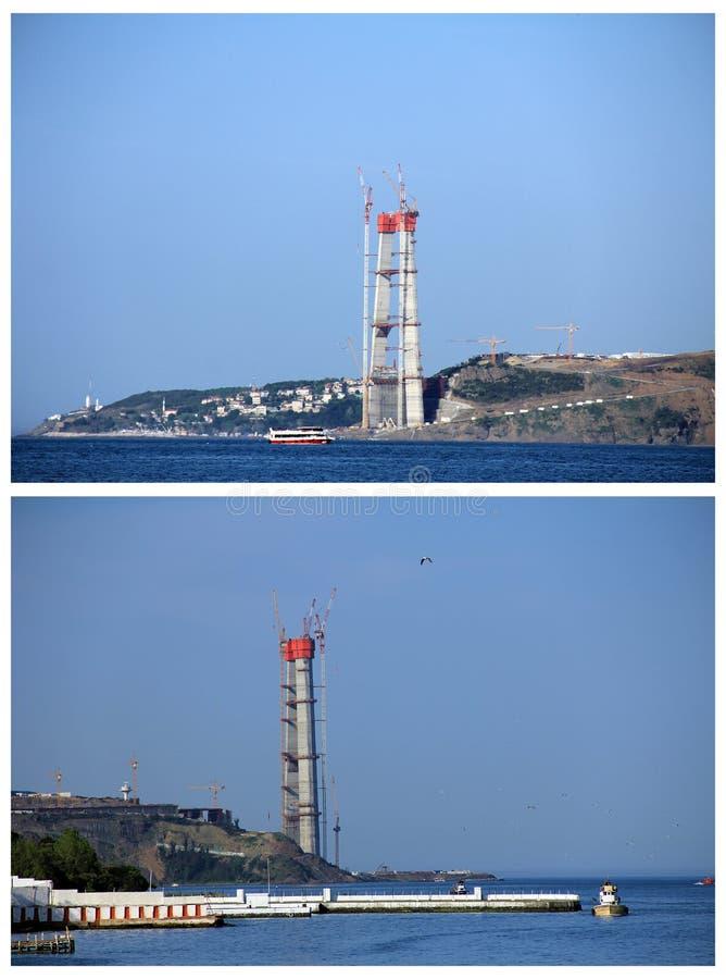 3 строительство моста, Стамбул, Турция стоковое изображение