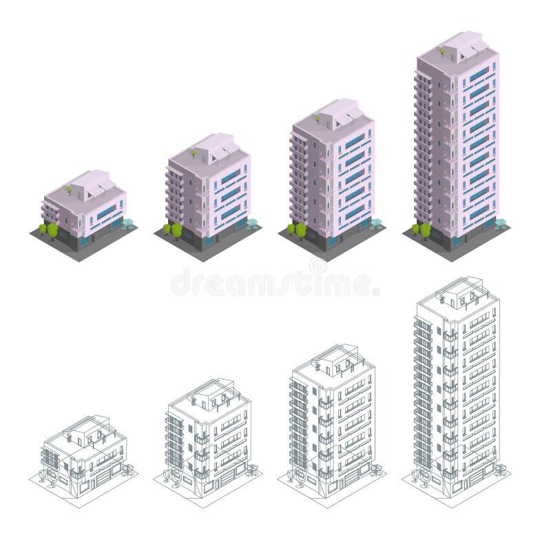 Строить Участки конструкции Современные пола многократной цепи таунхауса Архитектура резиденции города Различное количество  иллюстрация вектора
