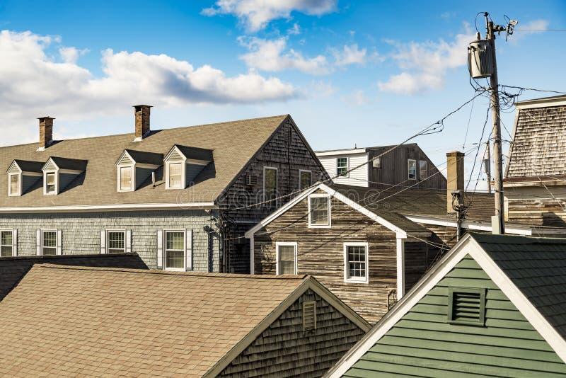 Строка зданий на блоке стоковое изображение rf