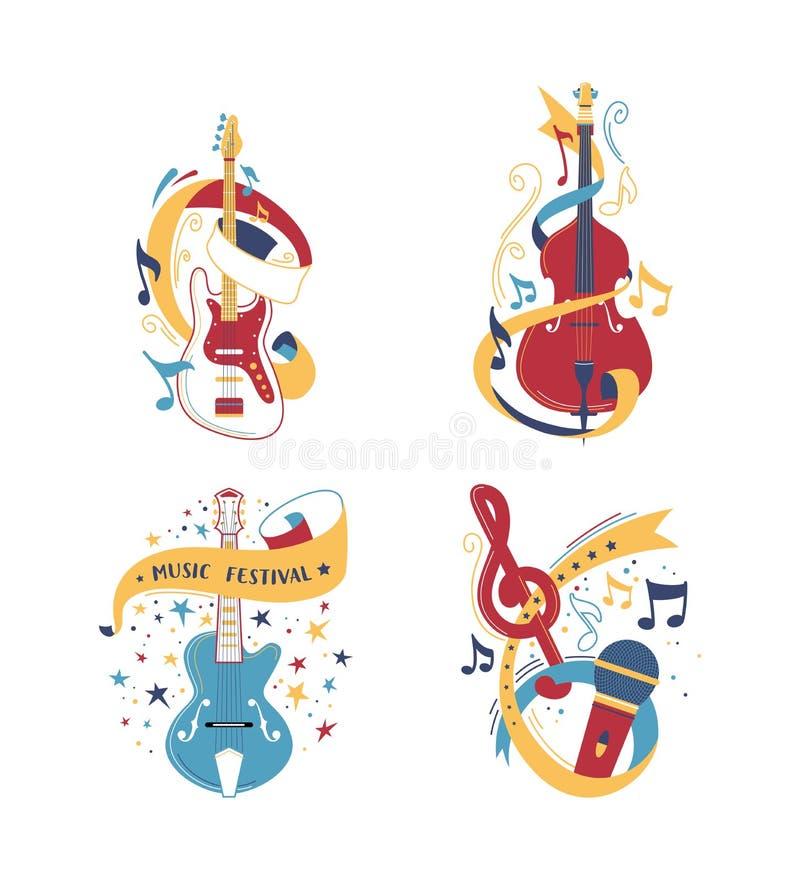 Строка и обхватыванный набор иллюстраций музыкальных инструментов бесплатная иллюстрация