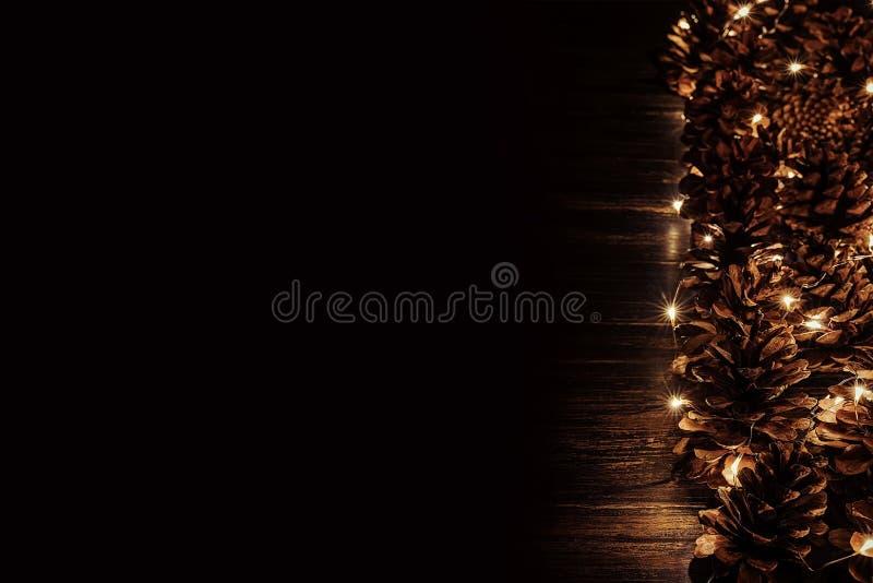Строка конусов сосны, загоренная с светами рождества стоковое изображение rf