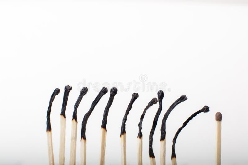 Строка, который сгорели спичек с одно неиспользованное одним стоковое фото rf
