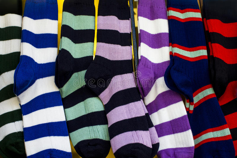 Строка красочных носок спорта рэгби стоковые фотографии rf