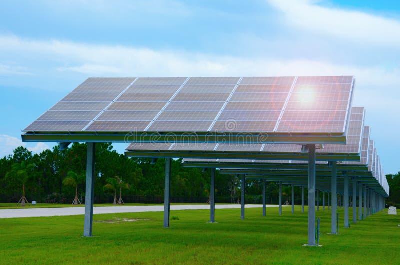 Строка огромных панелей солнечных батарей производящ электричество стоковая фотография