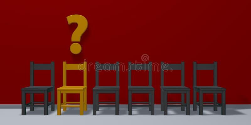 Строка стульев, одно в желтом цвете и вопросительный знак бесплатная иллюстрация
