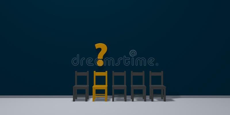 Строка стульев, одно в желтом цвете и вопросительный знак иллюстрация вектора