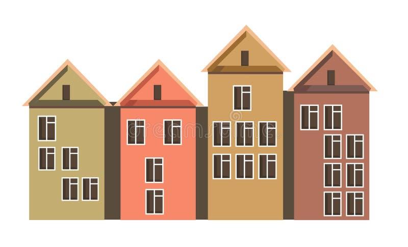 Строка таунхаусов с чердаками и красочными стенами бесплатная иллюстрация