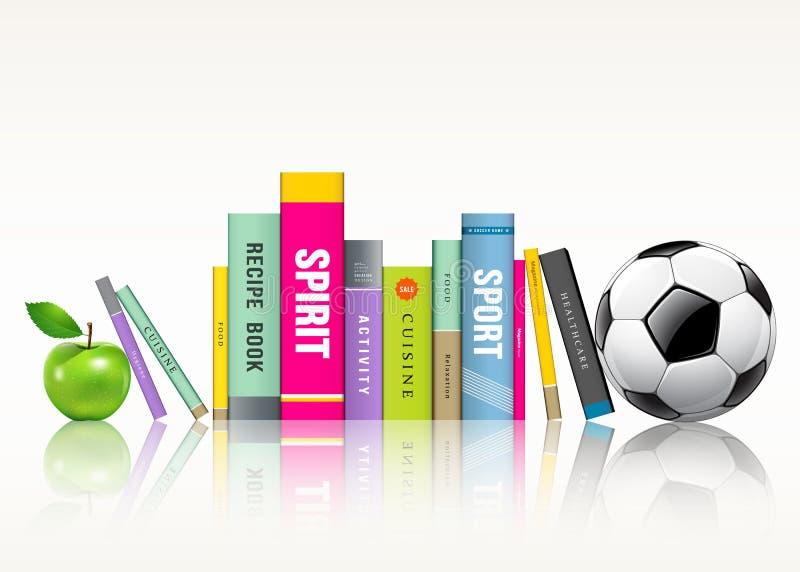 Строка цветастых книг футбольного мяча и яблока иллюстрация штока
