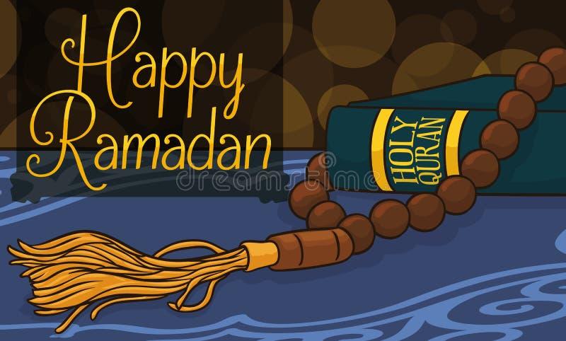 Строка шариков или книги для Рамазана, иллюстрации Masbaha и Корана вектора бесплатная иллюстрация