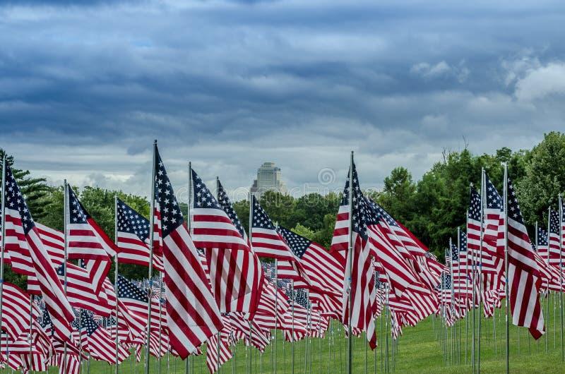 Строки американских флагов с облаками стоковые фотографии rf