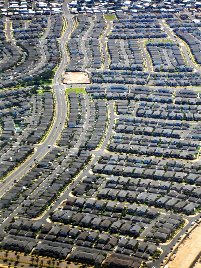 Строки домов как летали в аэропорт стоковое изображение rf