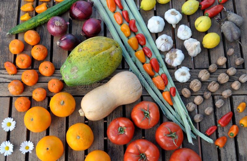 Строки красочного фрукта и овоща стоковые изображения