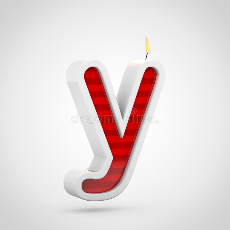 Строчная буква письма y свечи дня рождения изолированная на белой предпосылке бесплатная иллюстрация