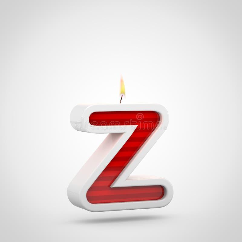 Строчная буква письма z свечи дня рождения изолированная на белой предпосылке иллюстрация вектора