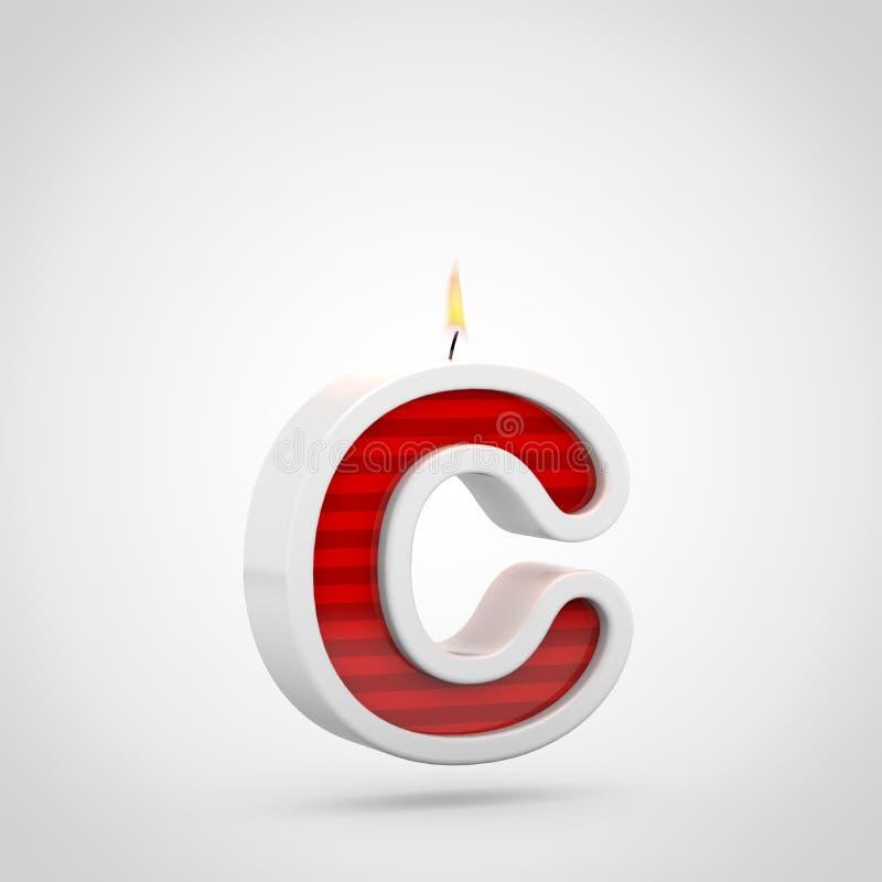 Строчная буква c письма свечи дня рождения изолированная на белой предпосылке иллюстрация вектора